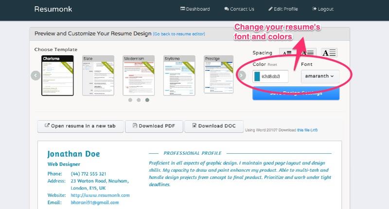 Change resume font