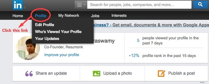 Open your LinkedIn Profile Page