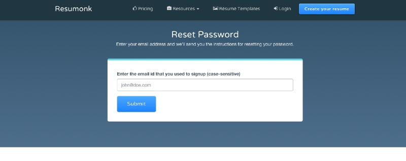 Reset password - Forgot password - Cannot access resume - Resumonk Online Resume Maker