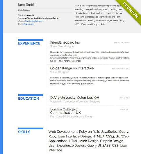 Resume Template - 'Bold' | Create your CV