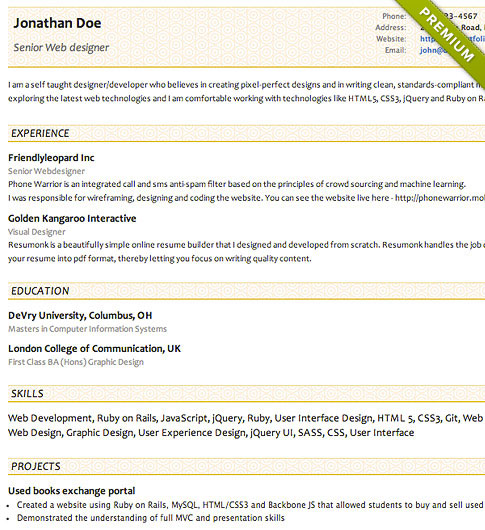 Resume Template - 'Concise' | Create your CV