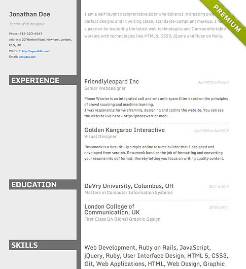 Resume Template - 'Concrete' | Create your CV